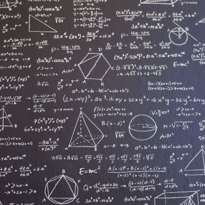 Math on black board with many solution - vertical